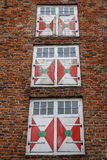 Nice facade windows in the historic centre of Utrecht Royalty Free Stock Images