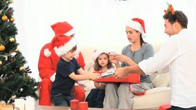 Nice familly with Santa Claus Stock Images