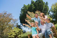 Nice family and grandparents pointing into the sky royalty free stock photography