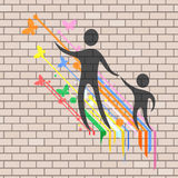 Nice family illustration in brick wall Stock Photography
