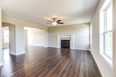 Nice family room in a new construction home in the midwest. stock image