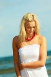 Nice female enjoying nature and beach. Stock Photos