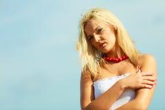 Nice female enjoying nature and beach. Stock Photo
