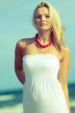 Nice female enjoying nature and beach. Stock Photography