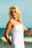 Nice female enjoying nature and beach. Stock Image