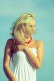 Nice female enjoying nature and beach. Royalty Free Stock Photography