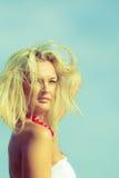 Nice female enjoying nature and beach. Royalty Free Stock Photo