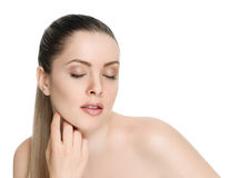 Nice female face with health skin Stock Photos