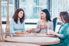 Nice female friends talking to each other stock photography