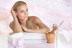 Nice female at the spa salon Stock Images
