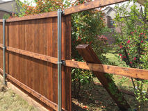 Nice fence building. New fence building with steel tube and lumber Royalty Free Stock Photos