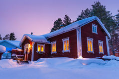 Nice Finnish house during the winter Stock Photo