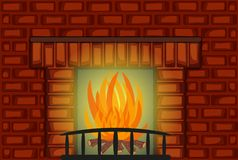 Nice Fire Place with Red Brick wall. For your design - full color Royalty Free Stock Image