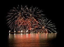 Nice Firework On River With Reflection In Water Stock Images