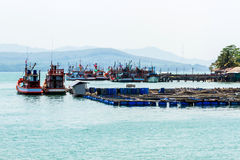 Nice fishing boat and cage aquaculture farming. Stock Photo