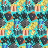Color cinema pattern with camera, tickets, popcorn Royalty Free Stock Images