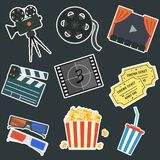 Nice flat vector cinema stickers set. Nice flat vector cinematography stickers on black background set. Film production symbols including colorful camera Royalty Free Stock Images