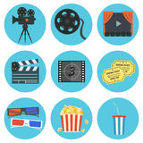 Nice flat vector cinematography elements set Royalty Free Stock Photo