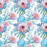 Nice floral watercolor seamless pattern Stock Photos