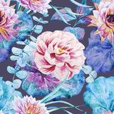 Nice floral watercolor seamless pattern Stock Photography