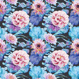 Nice floral watercolor seamless pattern Royalty Free Stock Photos
