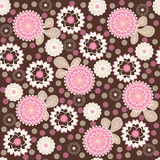 Nice flower background. Nice pink vector seamless background with flower and leaves Royalty Free Stock Photography