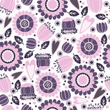 Nice flower background. Nice pink vector seamless background with flower and leaves Royalty Free Stock Images