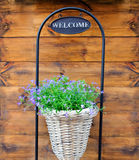 Nice Flower Basket With Welcome Sign Stock Image