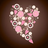 Nice flower card. Nice pink vector background with flower and leaves for card Stock Image