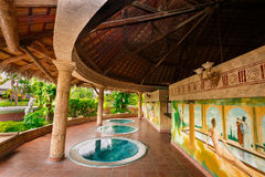 Nice fragment of view of outdoor hydro massage Jacuzzi cozy inviting room. Holguin Province, Playa Pesquero hotel, Cuba, Sep. 4, 2016, mesmerizing gorgeous Stock Photography