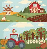 Nice fram with long vegetable beds and big orchard. Nice fram with long vegetable beds, big orchard, powerful tractor, small haystacks, old mill, spacious barn Royalty Free Stock Photo