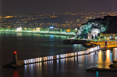 Nice, France. Nightview of the city of Nice and angels'bay from the petit corniche, Nice,France Royalty Free Stock Image