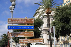 Nice, France. Nice, city view with direction sign Royalty Free Stock Image