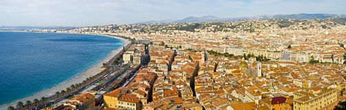 Nice, France. Panoramic view of the city of Nice, France royalty free stock photos