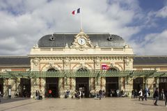 Nice main train station facade, France stock photography