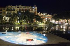 Night view of Place Massena in Nice, France royalty free stock photography