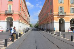 Tramway crossing Place Massena in Nice, France stock photos