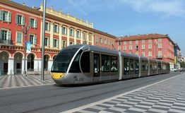 Nice, France - August 06, 2013: The Tram at Massena Place royalty free stock photography