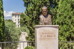 Nice, France. Bust of Pope John Paul II in Cimiez Stock Images