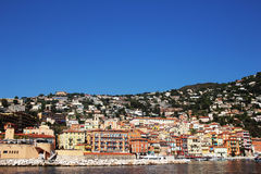 NICE, FRANCE - CIRCA 2016: The Villefranche port in Nice, this is a popular cruise ship port. stock photography