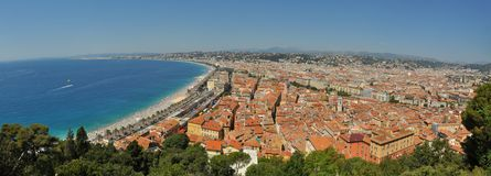 Nice France Coastline Panorama Stock Photo