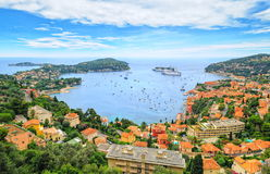 Nice, France. Cruise ships and yachts in the lagoon of Saint-Jean-Cap-Ferrat by Nice, french Riviera, France Royalty Free Stock Images