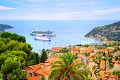 Nice, France. Cruising ships in a lagoon of Villefranche by Nice, french Riviera, France Royalty Free Stock Images