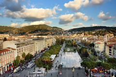 NICE, FRANCE - DECEMBER 14 2018: Aerial view of Place Massena square, La promenade du Paillon park. Travel and tourism royalty free stock photography