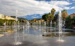 NICE, FRANCE - DECEMBER 14 2018: Beautiful plane fountain in the La promenade du Paillon park. Travel and tourism stock photos