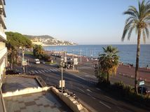 Nice, France Eslplanade. Photo taken from a balcony of the Esplanade along the water-front Royalty Free Stock Images