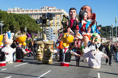 Nice Carnival - February 22, 2015 : Carnival of Nice in French Riviera. The theme for 2015 is King of Music. Nice Carnival - February 22, 2015 : The main winter Royalty Free Stock Photo