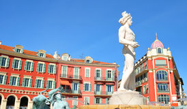 Nice, France. Historic buildings in Place Massena (Nice, France Stock Image