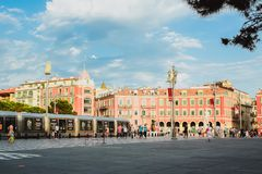 NICE, FRANCE - JUNE 26, 2017: Central Square - Place Massena, landmark of the town of Nice. A pedestrian-only square, is surrounde. D by hotels, shops and stock images