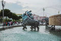NICE, FRANCE - JUNE 26, 2017: Central Square in Nice, France on june 26, 2017. The Triton Fountain in Gardens Albert I. Europe, France royalty free stock images
